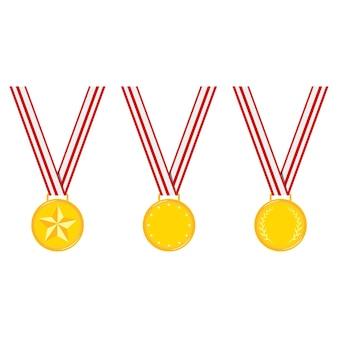 Medalhas de ouro de design diferente de campeão despojado conjunto de fita vermelha isolado na ilustração plana de vetor de fundo branco.
