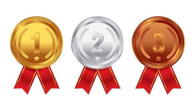 Medalhas de ouro prata bronze