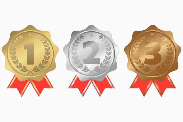 Medalhas de ouro, prata e bronze com estrela de fita e coroa de louros. primeiro, segundo e terceiro lugares