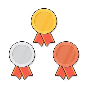 Medalhas de ouro, prata e bronze com fita vermelha