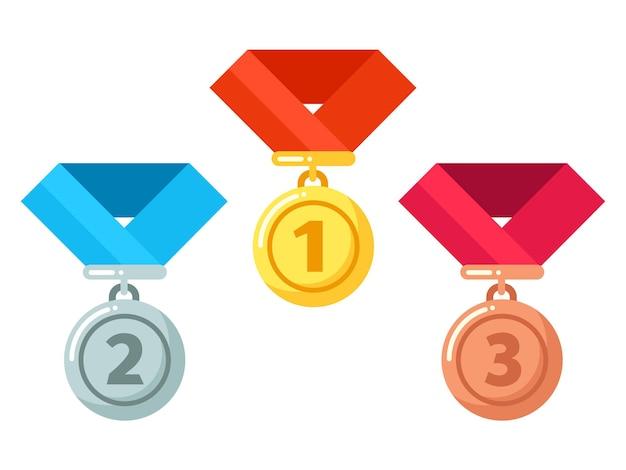 Medalhas de ouro, prata e bronze com fita