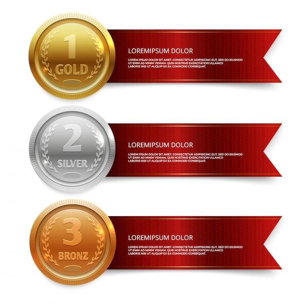 Medalhas de ouro, prata e bronze de campeão com modelo de bandeiras de fita vermelha