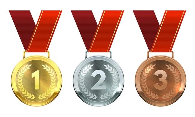 Medalhas de ouro, prata e bronze