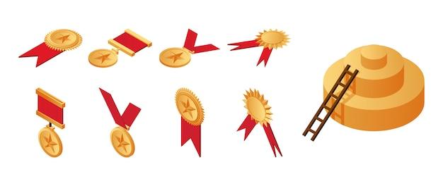 Medalhas de ouro, prêmios e escadas que levam ao primeiro lugar na ilustração isométrica de pedestal.