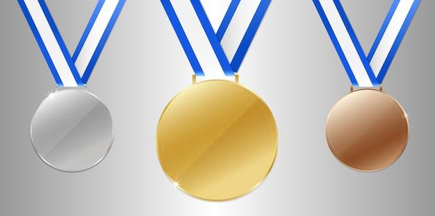 Medalhas de prata de bronze do campeão do ouro com fita.