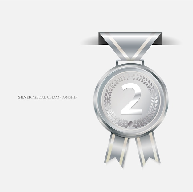 Medalhas de prata de campeão com fita.