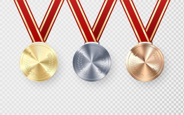 Medalhas de prata dourada e bronze com louro pendurado em fita vermelha