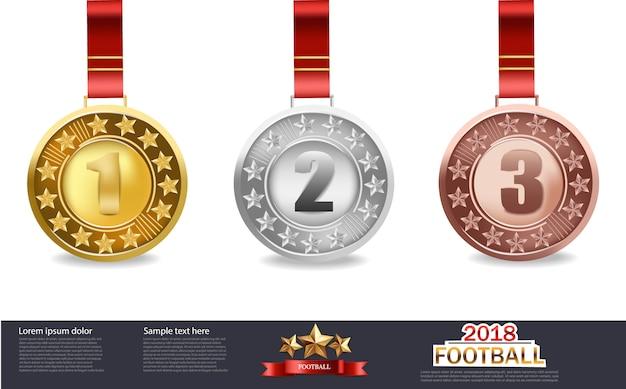 Medalhas de prata e bronze douradas
