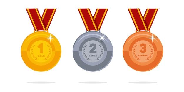 Medalhas de prêmio de campeão de ouro, prata e bronze