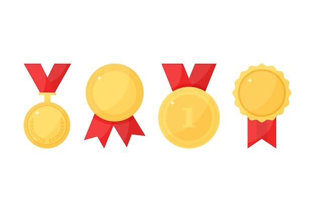 Medalhas de troféu de ouro com fita, prêmio do esporte, campeão i