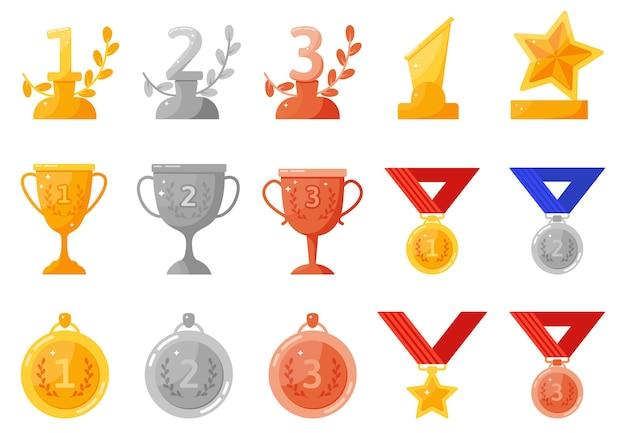 Medalhas e taças do troféu.