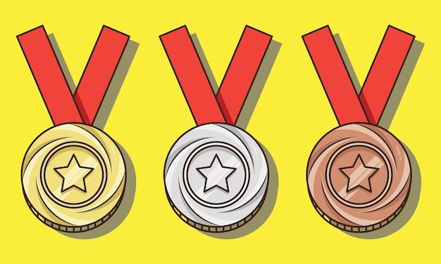 Medalhas isoladas de ouro, prata, bronze, campeões, conjunto, vetorial, desenho, ilustração
