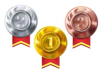 Medalhas, ouro, prata, e, bronze, ilustração, de, campeão, prêmios, para, primeiro