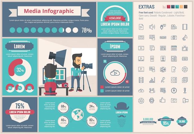 Media flat design template infográfico