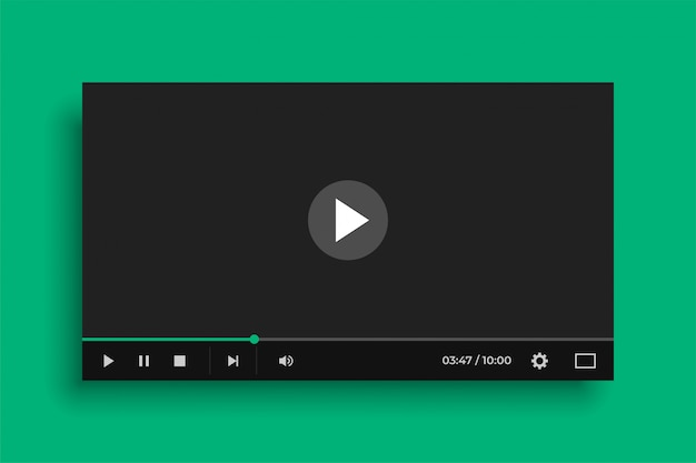 Media player de vídeo no estilo preto liso