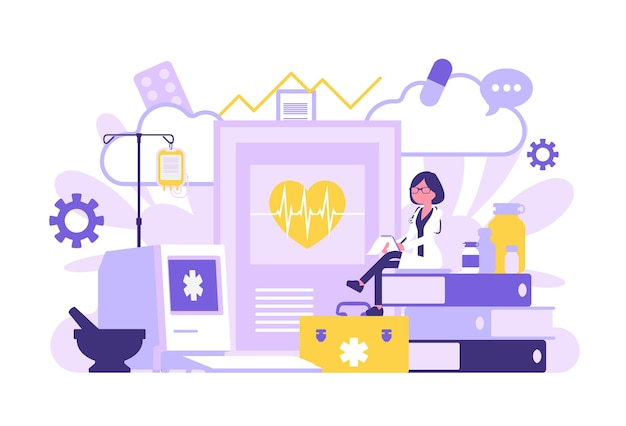 Médica, clínica geral trabalhando. clínica profissional e equipamento hospitalar gigante, arquivos e papel de exame. medicina, conceito de saúde. ilustração vetorial com personagens sem rosto