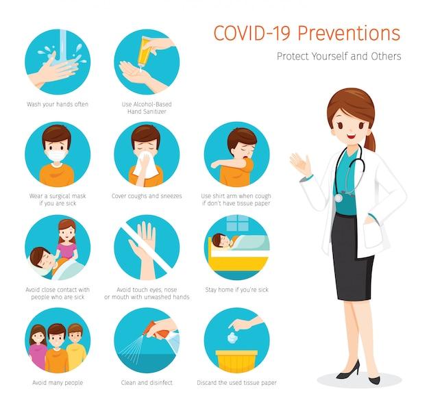 Médica com doença do coronavírus, prevenções covid-19, etapas para se proteger e proteger outras pessoas