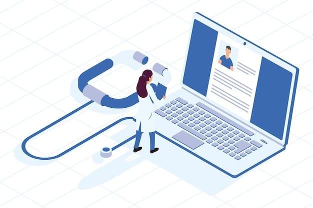 Médica com laptop e estetoscópio