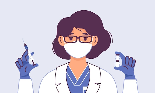 Médica com seringa e vacina