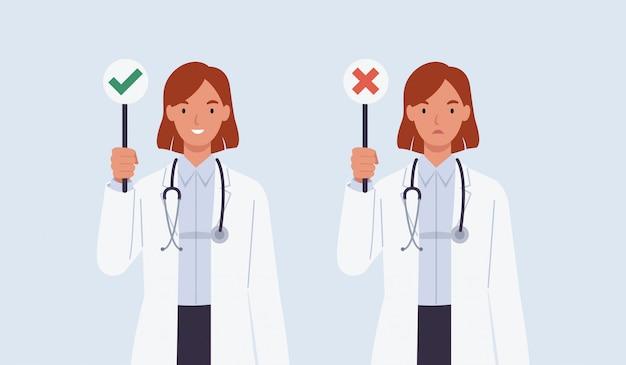 Médica com um sinal de certo e errado.