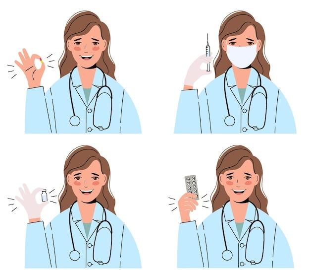 Médica de uma linda mulher, em uma bata médica com um estetoscópio. conjunto de ilustrações.