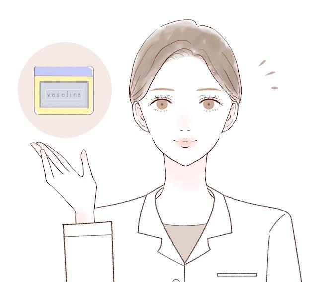 Médica explicando os efeitos da vaselina. sobre um fundo branco.