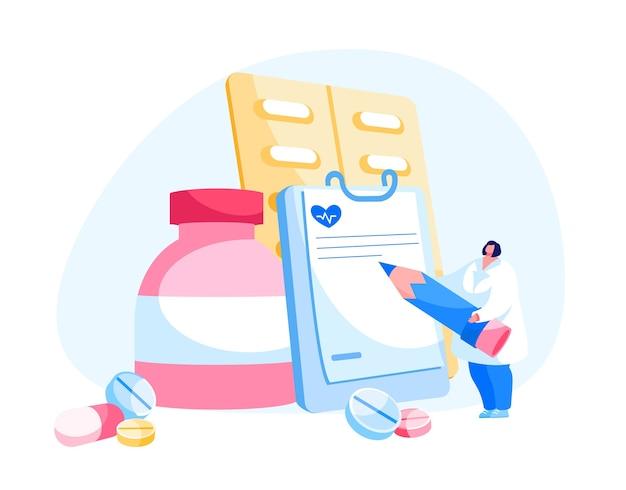 Médica farmacêutica em redação de manto médico
