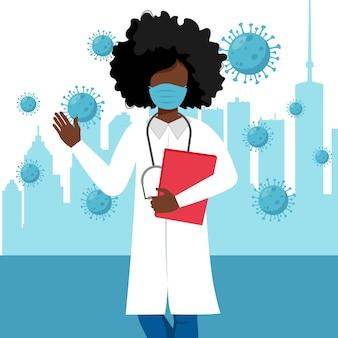 Médica negra usando máscara médica e luvas