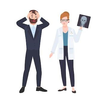 Médica ou radiologista mal-humorada demonstrando raio-x do crânio para paciente do sexo masculino assustado. consulta médica e diagnóstico em clínica. ilustração vetorial colorida em estilo cartoon plana.