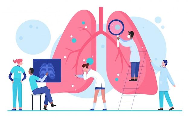 Medica povos dos cientistas na ilustração lisa do conceito médico dos cuidados médicos do órgão dos pulmões das pesquisas. pneumologia, determinar diagnóstico, tratamento de doenças. inspeção interna de órgãos
