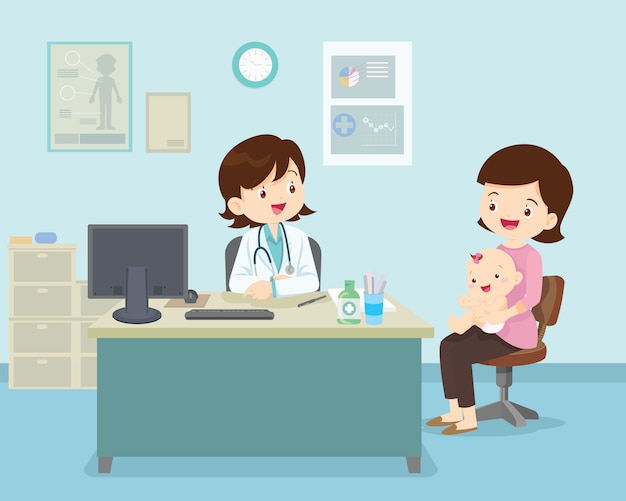 Médica, sentado à mesa