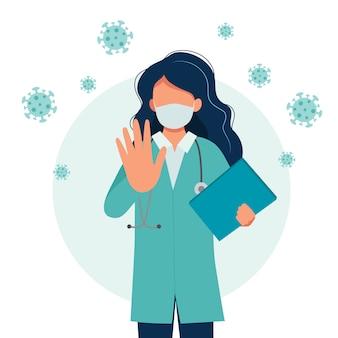 Médica, vestindo uma máscara médica, conceito de surto de coronavírus.