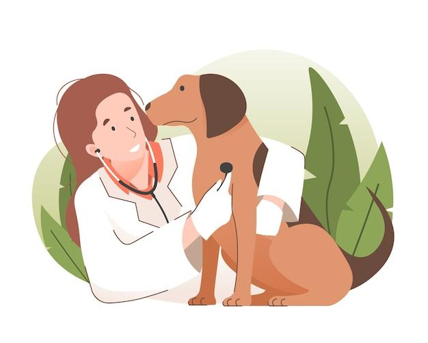 Médica veterinária examinando um cachorro com estetoscópio