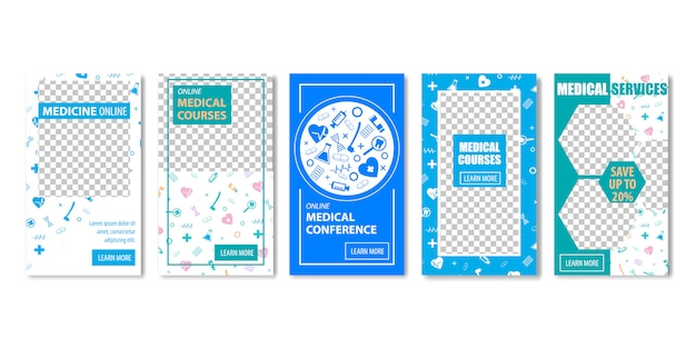 Medical courses conference services medicina on-line banner template set