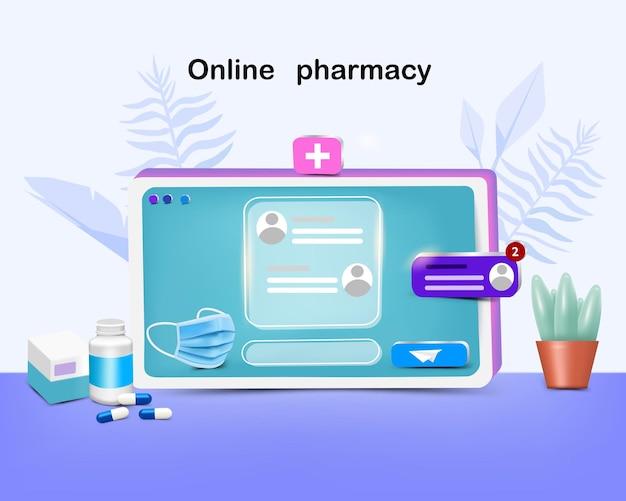 Medicamento e máscara no dispositivo para farmácia online