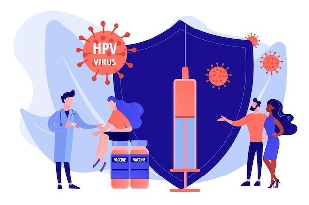 Medicamento para infecção por hpv. prevenção contra o vírus. vacinação do hpv, proteção contra o câncer cervical, conceito do programa de vacinação do papilomavírus humano. ilustração em vetor de vetor azul coral rosado