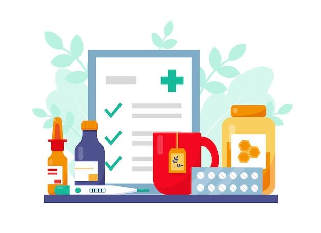 Medicamento, receita e tampa de chá com mel para paciente com gripe.