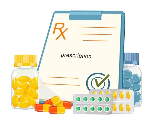 Medicamentos com formulário de prescrição médica em desenho animado