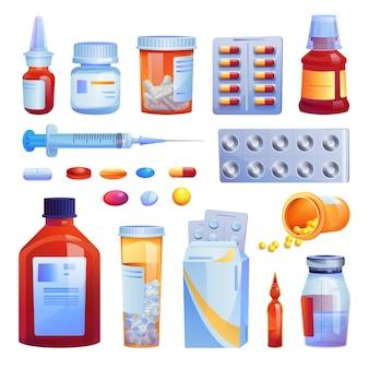 Medicamentos, comprimidos e cápsulas definem ícones isolados dos desenhos animados. vários remédios, frascos de vidro