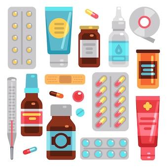 Medicamentos de farmácia, pílulas, frascos de medicamentos e equipamentos médicos