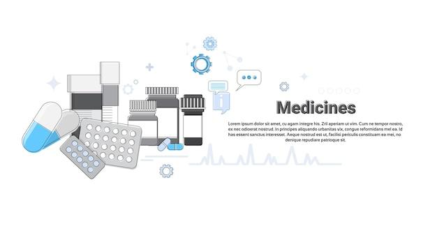 Medicamentos de prescrição médica aplicação medicina de cuidados de saúde online web banner vector illustratio