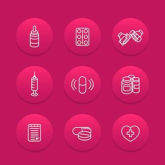 Medicamentos, drogas, ícones de linha de pílulas, produtos farmacêuticos, suplementos, produtos farmacêuticos, medicamentos, vacinação