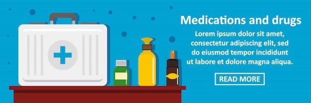 Medicamentos e drogas banner modelo conceito horizontal