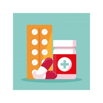 Medicamentos e frasco de comprimidos