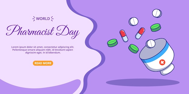 Medicamentos voadores e modelo de página inicial de argamassa. ilustração plana dos desenhos animados do dia mundial do farmacêutico.