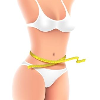 Medição corporal de mulher fitness