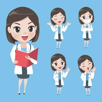 Médicas em vários gestos de uniforme.
