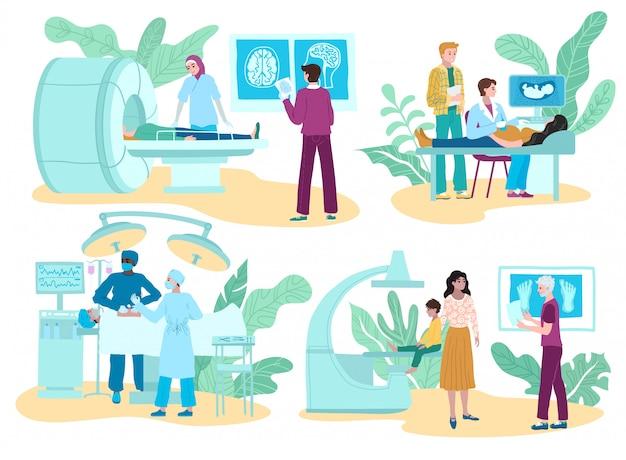 Medicina da cirurgia e procedimentos diagnósticos, tratamento médico, grupo com consulta dos médicos do cirurgião, ultrassom e raio x isolados na ilustração branca.