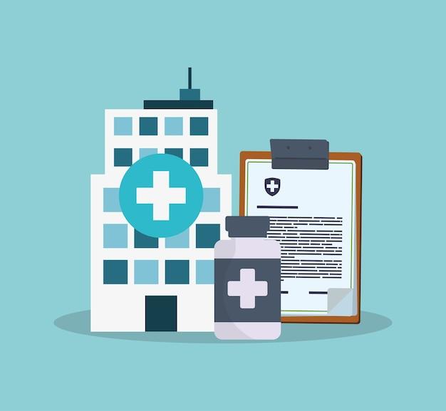 Medicina de garrafa de prancheta bulding hospital