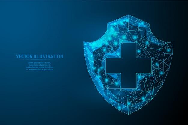 Medicina do escudo. proteção contra o vírus, a luta contra o coronavírus covid-19. vacinas, antibióticos, remédios, tecnologia médica inovadora.